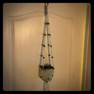Vintage Hanging plant holder hand beaded
